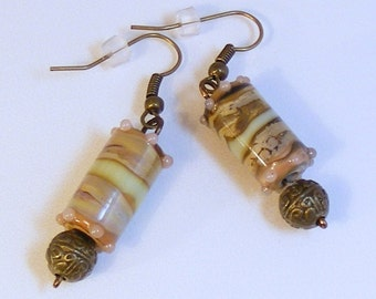 MOCHA Antique BRASS FILIGREE Earrings - Lampwork Glass