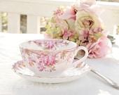 Vintage Spode Irene Footed Tea Cup and Saucer Set, English Bone China Tea Set for Weddings, Bridesmaid Luncheon, Tea Parties