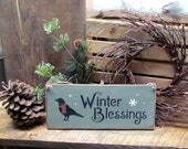 Winter Wooden Sign, Christmas Wooden Sign, Winter Blessings with Black Crow, Holiday Decor, Wood Sign Saying, Rustic Winter Sign, Crow Sign
