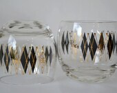 Black Diamond and Gold Atomic Harlequin by Federal Flass Co. - S/5 Lowball Rolly Poly Barware Glasses