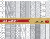 80% off Hand draw Patterns GREY Printable Background Pape Pack Abstract Digital Scrapbooking Pattern