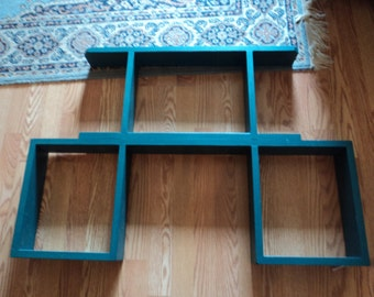 Handmade wooden shelf/stands alone/teal green/PICK UP ONLY