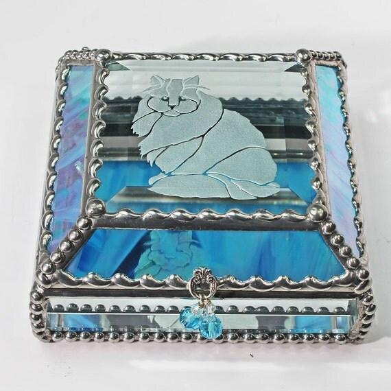 Etched, Hand Painted, Kitten, Feline, Cat ,Treasure Box, Jewelry Box, Stained Glass, Keepsake Box