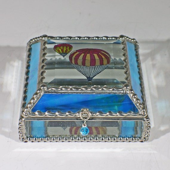 Etched, Hand Painted, Hot Air Balloons, Jewelry Box, Stained Glass Box, Souvenir Box, Keepsake Box