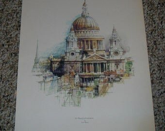Vintage Lithograph - St. Paul's Cathedral, London