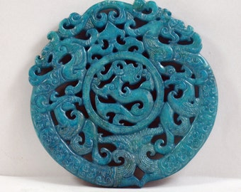 Antique Style Dargon Talisman ,Large Blue Jade Carved Dargon Pendant ,Old Dargon Marble Amulet ,Blue Jade Pendant