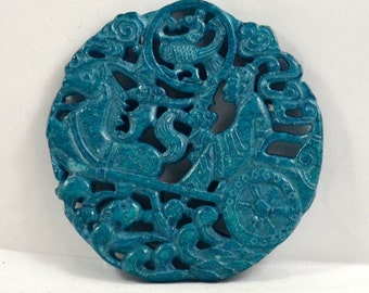 Antique Style Carved Horse Carriage Blessing Rich Blue Jade Pendant Money Amulet Happiness Talisman Money Jade Pendant