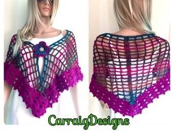SALE Womens multicolour hand crochet lace shawl,shrug, poncho,flower brooch pin,fall xmas wedding,magenta,ooak,bridesmaid,party,hippy gypsy.