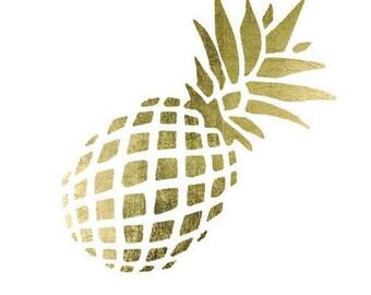 Pineapple Tattoo- Golden Tattoo- Fashion Tattoo- Temporary Tattoo- Gold Leaf Tattoo- Pineapple- Yoga Tattoo