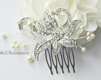 Bridal Rhinestone Hair Comb, Wedding Comb, Crystal Comb, Pearl Flower Hair Comb, Hair Accessories, Bridal Headpiece, Bridesmaid Vintage Comb