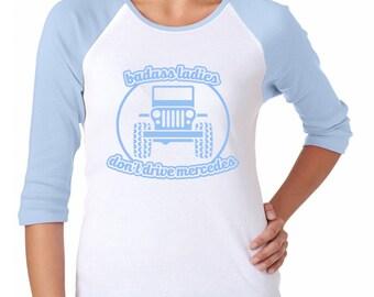 Badass Ladies Jeep Pastel Baseball Tee