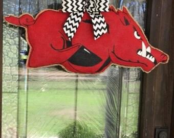 Burlap Arkansas Razorback Door Hanger