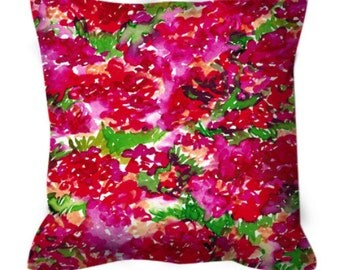 FLORAL ASSUMPTION Red Pink Green Flower Abstract Art Suede Throw Pillow Cover Cushion Feminine Garden Pattern Girly Colorful Summer Decor