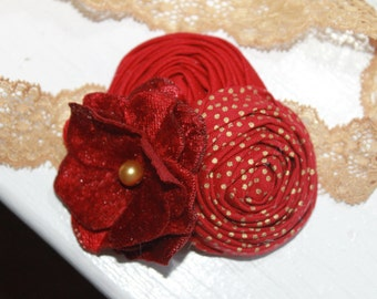 Gold and Dark Red Baby Headbands, Christmas Headband, Baby Flower Headband, Newborn Headband, Baby Girl Headband, Photography Prop