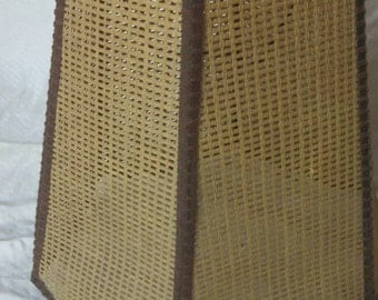 Vintage woven rattan lamp shade , wicker lamp shade , vintage lamp shade