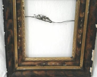Antique  picture frame hand made gold guild pearl inlay Victorian picture frame