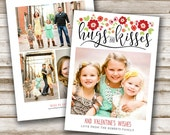 Valentine's Photo Card: Hugs and Kisses, Valentine, Collage, Valentines Day, Red, Love