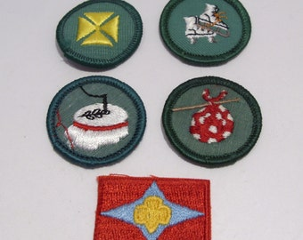 Girl Scout Junior Badges and Sign of the Star Patch Circa 1960's to 1970's Group #6