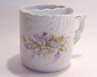 Antique Shaving Mug with White, Purple and Green Flowers