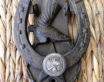 US Army Doorknocker, Cast Iron,  Lucky Star Horseshoe Cowboy Boot Farmhouse Front Door Wall Decor, Housewarming New Home Gift, Rustic Home