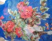 Stunning Soft & Silkie Scarf-Dk Blue Floral-SC267
