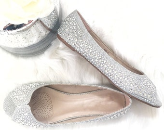 Women Wedding Flat Shoes - SILVER Peep toe flats with rhinestones. Perfect for brides, bridesmaid gifts, wedding party, and special occasion