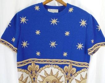 80s ST JOHN  Sportswear by Marie Gray zodiac sun and stars cobalt blue cropped sweater/ power shoulders: size M