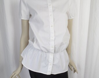 80s Prada little white blouse/ puff sleeves/ elastic waist detail:size IT 44= US size 8