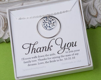 Family Tree Necklace,Karma circle necklace,Mother's day gift,Mother of the groom,mother in law gift, gift from bride to mom, Mother daughter