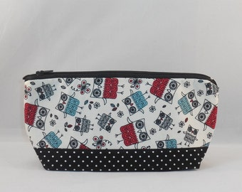 Zipper Pouch Made With Owl Inspired Fabric For Makeup Bag or Cell Phone Pouch