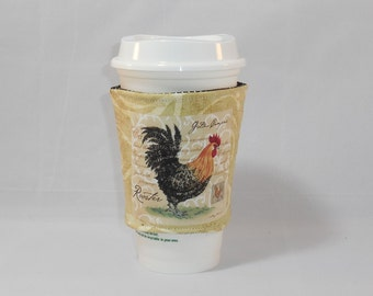 Slide On Coffee Cozy Made With Rooster Inspired Fabric