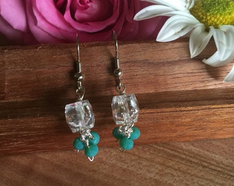 Earrings, Crystal Cube Earrings, Four Hand Wire Wrapped Emerald Green Czech Glass Drops, Sliver Tone, Free Shipping, #1