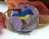 Indigo Bunting- art resin pendant original painting. blue yellow bird coconut bead. fall pendant. autumn inspired. Jettabugjewelry