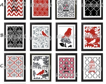 Red Black Grey Bird Damask Wall  Art Prints -Pick Any (6) Prints, Any Color - 8x10 Prints - Custom Colors Sizes Available (UNFRAMED)
