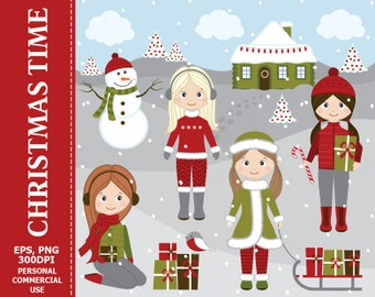 Christmas Girls Clipart - Girls, Winter, Snow, Christmas, Xmas, Gifts, Snowman Clip Art