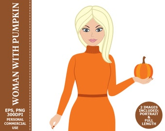 BUY 1 GET 1 FREE - Woman with Pumpkin Clipart - Woman, Girl, Character, Pumpkin, Thanksgiving, Fall Clip Art. Commercial and Personal use