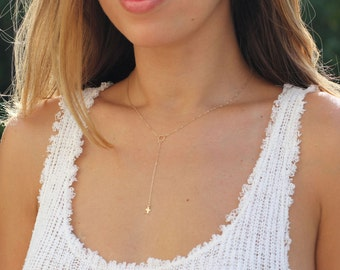Tiny Cross Necklace, Gold Cross Lariat, Dainty Y Necklace, Delicate Silver Cross Lariat, Gold Lariat Necklace, Confirmation Gift, Faith