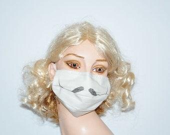 Funny Surgical Mask, Dali Mustache, Movember, Comic Face mask, Unique and funny