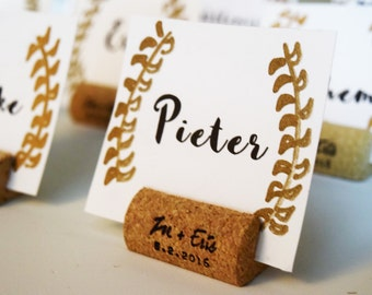 Personalized Wine Cork Place Card Holder or Place Setter, Wine Cork Name Badge Name Card Holder
