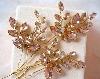 Blush Rhinestone Hair Pins, Blush Crystal Hair Pins, Bridal Hair Pins, Wedding Hair Pins, Bridal Bobby Pins, Blush Hair Accessories
