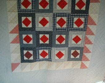 """Vintage Patchwork Quilt, Full-Double Bed Size, Hand Quilted 72 x 95"""", Antique Reproduction, Ralph Lauren?"""