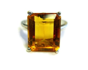 Art Deco Orange Quartz Ring, Faceted Prong Set Stone, Sterling Silver, Sz 6.25 Vintage Solitaire Ring