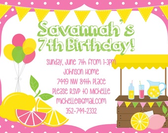 Lemonade Theme Party Birthday Invitation