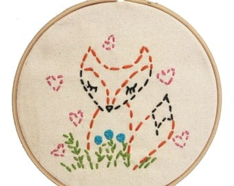 Embroidery Kit Little Fox Beginner Sewing Project