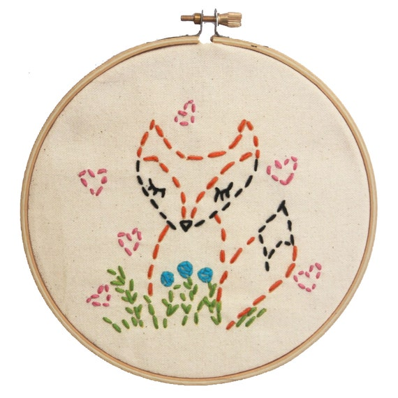 Items similar to embroidery kit little fox beginner sewing