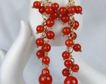 20% OFF NATURAL CORAL Earrings - coral earrings - long earrings - gold earrings - dangle earrings - beach wedding - bohemian jewelry - boho