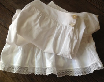 Antique French White Cotton Lace Bloomers
