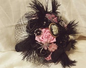 BALANCE PAYMENT RESERVED for Jacque Brooch Bouquet Black Pink Charcoal Lace and Feathers