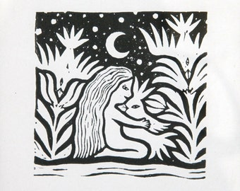 Girl and Birds. Linocut print.