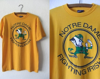 Notre Dame Vintage Tee - NCAA College Football Throwback 90s Sporty Deadstock T Shirt - Mens Small